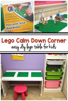 Turn a super simple DIY Lego table into a relaxing calm down corner for kids! A quiet place for upset kids! Easy to stick baseplates make perfect tables!