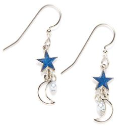 Silver Forest Star & Moon Pearlescent Earrings