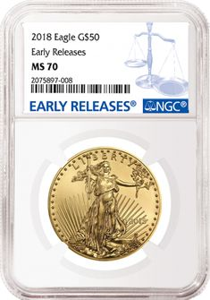 If you can afford to own just one 2018 American Eagle, we recommend considering the flawless 2018 American Eagle gold coins in the 1 ounce … American Eagle Gold Coin, Maple Leaf Gold, United States Mint, Gold Bullion, Classic Gold, Rare Coins, Gold Coins, First Grade, Troy
