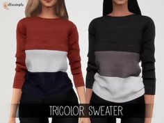 The Sims 4 Elliesimple - Tricolor Sweater Sims Mods, Sims 4 Mods Clothes, Sims 4 Clothing, The Sims 4 Pc, Sims 4 Mm, Sims 4 Dresses, Sims 4 Outfits, Maxi Dresses, The Sims 4 Cabelos