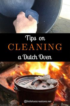 Cleaning a Dutch oven and cast iron is easier than you think. Dutch oven cooking can be fun and has many great recipes that are delicious and easy to cook camping or even in your backyard. Camping Bedarf, Dutch Oven Camping, Camping Dishes, Outdoor Camping, Camping Cooking, Group Camping, Camping Kitchen, Backyard Camping, Camping Chairs