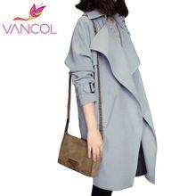 Vancol 2016 coreano moda outono inverno manga comprida long slim casaco para As Mulheres de Alta Qualidade Preto Bege Trench Coat Mais tamanho(China (Mainland))