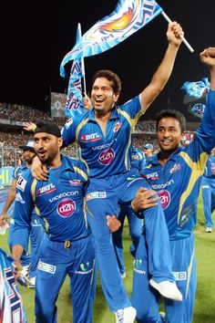 Harbhajan Singh, Sachin Tendulkar and Pragyan Ohja celebrate the win during the Final of the Pepsi Indian Premier League between The Chennai Superkings and the Mumbai Indians held at the Eden Gardens Stadium in Kolkata on the 26th May 2013. #IPL6