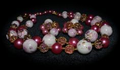 DEAUVILLE  3pc Vintage multi colored double strand necklace and earrings set. Pink, white and gold