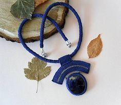 MacrameMarika / Macramé náhrdelník Modrá obloha Jade, Jewerly, Crochet Necklace, Origami, Handmade, Jewlery, Hand Made, Schmuck, Jewelry