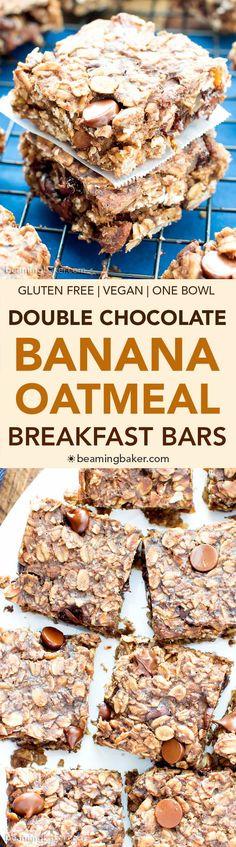 Gluten Free Chocolate Chocolate Chip Oatmeal Banana Breakfast Bars (V, GF): a one bowl recipe for whole ingredient breakfast bars bursting with double the chocolate. #Vegan #GlutenFree #DairyFree #WholeGrain | BeamingBaker.com