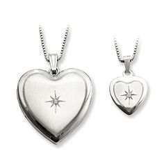 A perfect gift for Mother's Day . A Sterling Silver Diamond Polished Satin Heart Locket & and matching Pendant Set for the women in your life. Other styles availble. #JustLikeMommy #Heart #Locket
