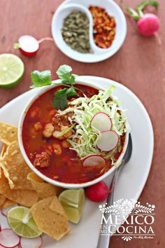 Pozole rojo - Red Posole, served with lettuce, radishes, lime and corn tortilla chips. Authentic Mexican Recipes, Mexican Food Recipes, Mexican Desserts, Dinner Recipes, Drink Recipes, Dinner Ideas, Pork Recipes, Chicken Recipes, Cooking Recipes