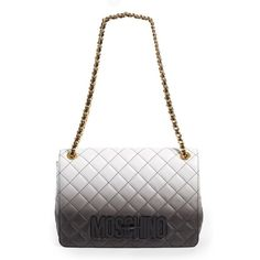 Moschino 'Large Letters' Degrade Quilted Leather Shoulder Bag (11.210 DKK) ❤ liked on Polyvore featuring bags, handbags, shoulder bags, shopping bag, quilted handbags, quilted leather purse, handbags purses and white handbags