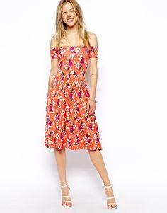 ASOS Midi Bardot Skater Dress in Floral Print