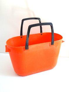 Panier à provisions vintage orange années 70 par BrocAndPop sur Etsy