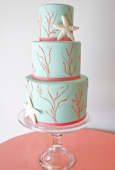 An Aqua and Coral Wedding Cake. Perfect for an intimate seaside wedding! Coral Wedding Cakes, Themed Wedding Cakes, Themed Cakes, Blue Wedding, Seaside Wedding, Destination Wedding, Chic Wedding, Wedding Blog, Beautiful Cakes