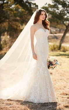 D2109 Lace fit and flare wedding dress by Essense of Australia- Available at Uptown Bridal & Boutique- Chandler, AZ- www.uptownbrides.com