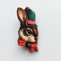 Easter Bunny Rabbit In Green Hat And Bowtie Brooch Animal Portrait Birthday Wooden Pin Gift For Stocking Filler Stuffer Jewellery Collar