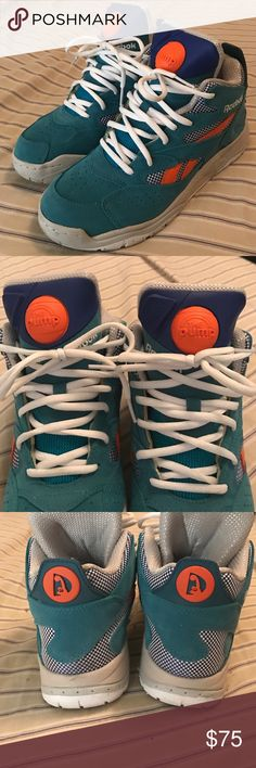 Men's Reebok pumps only worn twice Men's size 6 1/2 teal Reebok pumps. Fully functioning only worn twice! Reebok Shoes Sneakers