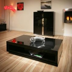Gloria Coffee Table Square In Black Gloss And Crystal Details - Glossy black coffee table