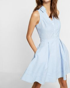 sleeveless cotton fit and flare shirt dress - love this style!