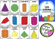 Browse over 10 educational resources created by Mme Marie Eve in the official Teachers Pay Teachers store. Math 8, 1st Grade Math, Fun Math, Teaching Math, Shapes For Kids, 3d Shapes, Les Homophones, Math Blocks, Math Poster