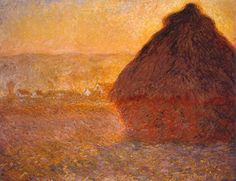 Haystack at Sunset Near Giverny, by Claude Monet (1891) Oil on canvas  Impressionist's landscapes almost always have a human presence. Even if people are absent, there frequently is something – a boat, or even a haystack – to give a sign of human activity.