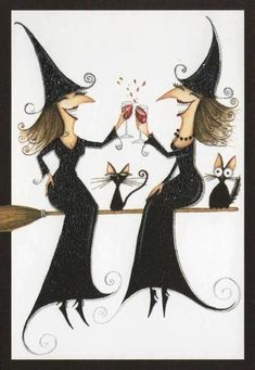 Halloween Witches and Wine (Kathy & Janis) Holidays Halloween, Halloween Crafts, Happy Halloween, Halloween Decorations, Halloween Humor, Halloween Witches, Halloween Bathroom, Halloween Clothes, Halloween Labels