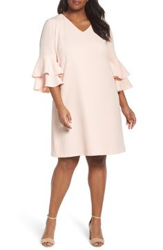 8647c9b9f05d Free shipping and returns on Tahari Bell Sleeve Ruffle Shift Dress (Plus  Size) at
