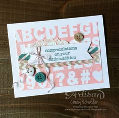 Using the Sweet Dreams products to finish another clay mold stamped card ~ Cindy Schuster