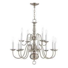Livex Lighting Williamsburgh Twelve-Light Chandelier in Brushed Nickel Livex Lighting, Chandelier Lighting, Chandeliers, Silver Chandelier, Residential Lighting, Brushed Nickel, Nickel Finish, Light Bulb Types, White Candles