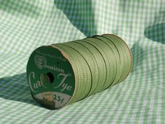 Very Vintage Dennison Ribbon Cotton Curl Tye, Green Christmas, for Decorating, Gift Wrapping, or Crafting