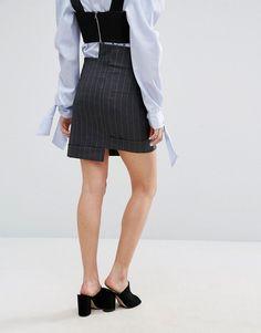 Zacro Mini Skirt With Step Hem In Pinstripe - Black