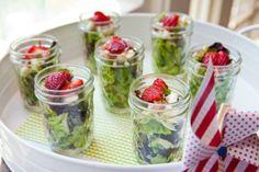 fresh berry salad in a mason jar for bbq