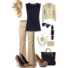 Navy, khaki, and brown... yummy! I would trade out some of the jewelry for things more my style in silver or pearls.