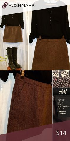 Cute H&M mini skirt perfect for Fall! Pretty herringbone pattern with very subtle flecks of pink throughout. Front pockets & back zipper. Like new condition - no flaws! 🎀NOTE: shirt pictured also for sale! :) H&M Skirts Mini