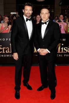 Actors Hugh Jackman and Russell Crowe on the red carpet. 'Les Miserables'