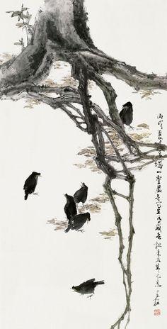 Qin Tianzhu - Here and here Japanese Artwork, Japanese Painting, Chinese Painting, Art Chinois, Traditional Japanese Art, Tinta China, Japanese Calligraphy, Korean Art, China Art