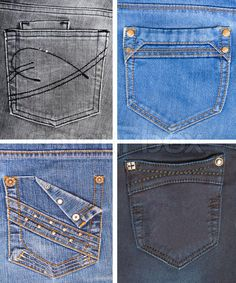 Another collection of jeans pockets. Diy Jeans, Sewing Jeans, Denim Ideas, Denim Trends, Trouser Pants, Vintage Denim, Girls Jeans, Denim Fashion, Jeans Style