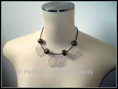 Hand-knitted necklace with beads