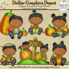 Pumpkin Patch Toddlers 2 - Clip Art - $1.00 : Dollar Graphics Depot, Quality Graphics ~ Discount Prices