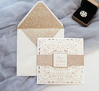 romantic ivory laser cut wedding invites with glittery bottom cards and belly bands Elegant Wedding Invitations, Pocket Wedding Invitations, Laser Cut Wedding Invitations, Wedding Trends, Diy Wedding, Wedding Venues, Gold Wedding, Floral Wedding, Wedding Gifts