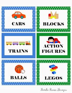 picture labels for toys | Free Printable: Boy's Toy Bin Labels