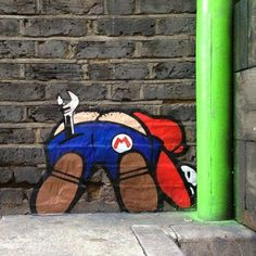 I guess someone had to give Mario a plumber's butt crack at some point! A simple but fun piece via Graffiti & Street Art.