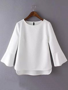 Shop Bell Sleeve High Low White T-shirt at ROMWE, discover more fashion styles online. Modest Fashion, Fashion Outfits, Iranian Women Fashion, Blouse And Skirt, Work Tops, Kurta Designs, White Shirts, Trendy Outfits, Bell Sleeves