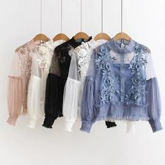 4 Colors Women O-Neck Lantern Sleeve Blouse Tops Casual Perspective Lace Blouse Shirts Fashion Mode, Japan Fashion, Teen Fashion Outfits, Fashion Dresses, Style Fashion, Lace Sleeves, Shirt Blouses, Blouses For Women, Ideias Fashion