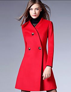 Women's+Casual/Daily+Simple+Coat,Solid+Asymmetrical+Long+Sleeve+Winter+Multi-color+–+CAD+$+51.42