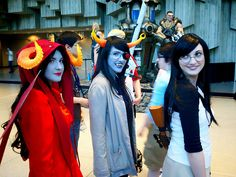Oh man. This is great cosplay. Aradia, Vriska, and Jade.