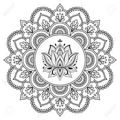 Circular pattern in form of mandala with lotus for Henna, Mehndi, tattoo, decora. Kreismuster in F Mandala Art, Mandala Drawing, Mandala Painting, Dot Painting, Lotus Mandala Design, Lotus Mandala Tattoo, Mandala Doodle, Henna Mandala, Circular Pattern