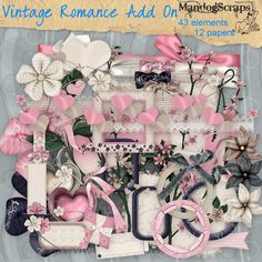 Daisies & Dimples Vintage Romance Add On [Mandogscraps] - A full size kit which co-ordinates with my Vintage Romance kit in store 43 elements and 12 papers There are lots of frames, tags, flowers, ribbons, journaling elements, lace and much more Personal Use