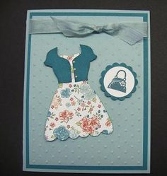 Super cute! Lynn cut up one of the dresses from the Dress Up framelit set to make a cardigan for a dress on her card.
