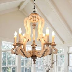 Antique 5-Light Wooden Candle Chandelier, Distressed White - On Sale - Overstock - 28132559