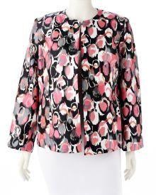 Woman's Plus Circle Print Shantung Jacket