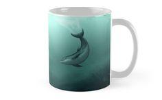 """Mugs ••• """"Siren of the Lagoon"""" ~ Dolphin Art by Amber Marine ••• AmberMarineArt.com •••"""